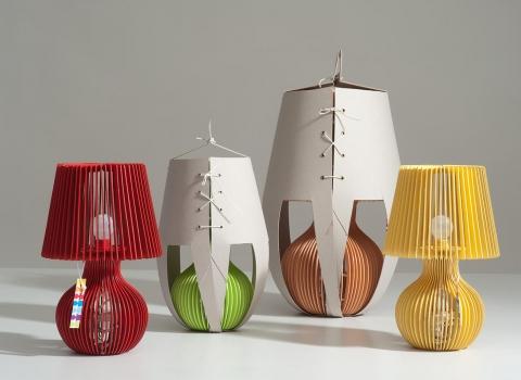 Stripes stolna lampe dvije u kartonskom pakovanju dvije male bez žuta i crvena
