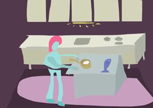 Ilustrirani lik u šarenoj kuhinji