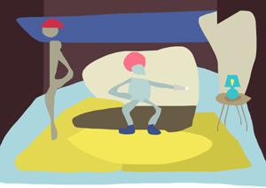 Ilustrirani likovi u sobi punoj boja sa stolnom lampom